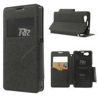 Okýnkové puzdro pre mobil Sony Xperia Z1 Compact - čierne