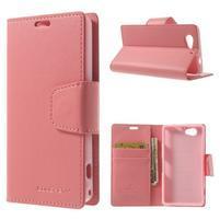 Sonata PU kožené puzdro pre mobil Sony Xperia Z1 Compact - ružové