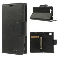 Sonata PU kožené puzdro pre mobil Sony Xperia Z1 Compact - čierne