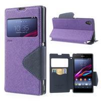 Okýnkové pouzdro na mobil Sony Xperia Z1 - fialové