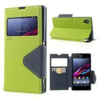 Okýnkové pouzdro na mobil Sony Xperia Z1 - zelené