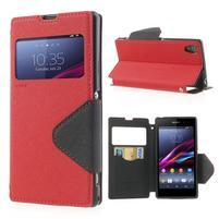 Okýnkové puzdro pre mobil Sony Xperia Z1 - červené