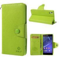 Štýlové Peňaženkové puzdro pre Sony Xperia Z2 - zelené
