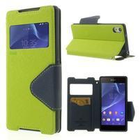 Okýnkové puzdro pre mobil Sony Xperia Z2 - zelené