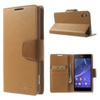 Sonata PU kožené pouzdro na mobil Sony Xperia Z2 - hnědé