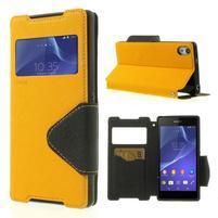 Okýnkové puzdro pre mobil Sony Xperia Z2 - žlté