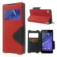Okýnkové puzdro pre mobil Sony Xperia Z2 - červené