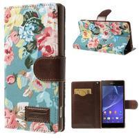 Květinové pouzdro na mobil Sony Xperia Z2 - modré