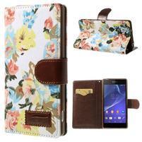 kvetinové puzdro pre mobil Sony Xperia Z2 - biele