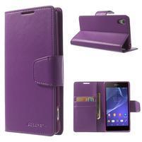 Sonata PU kožené puzdro pre mobil Sony Xperia Z2 - fialové
