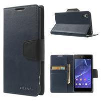 Sonata PU kožené puzdro pre mobil Sony Xperia Z2 - tmavomodré