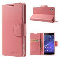 Sonata PU kožené puzdro pre mobil Sony Xperia Z2 - ružové