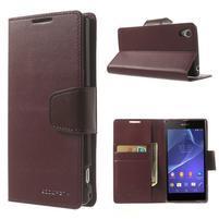 Sonata PU kožené puzdro pre mobil Sony Xperia Z2 - vínovej