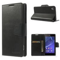 Sonata PU kožené puzdro pre mobil Sony Xperia Z2 - čierne