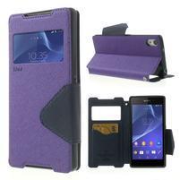 Okýnkové puzdro pre mobil Sony Xperia Z2 - fialové