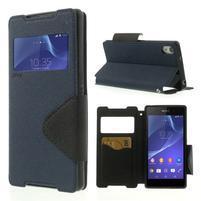 Okýnkové puzdro pre mobil Sony Xperia Z2 - tmavomodré