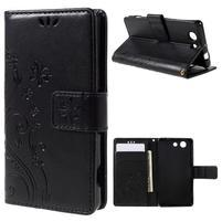 Butterfly PU kožené puzdro pre mobil Sony Xperia Z3 Compact - čierne