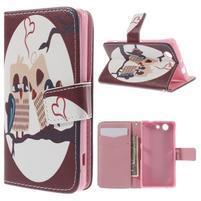 Knížkové puzdro pre mobil Sony Xperia Z3 Compact - zamilovaní vtáčiky