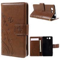 Butterfly PU kožené puzdro pre mobil Sony Xperia Z3 Compact - hnedé