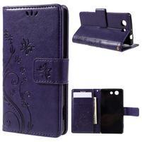 Butterfly PU kožené puzdro pre mobil Sony Xperia Z3 Compact - fialové