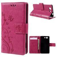 Butterfly PU kožené puzdro pre mobil Sony Xperia Z3 Compact - rose
