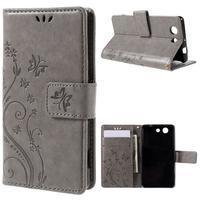 Butterfly PU kožené puzdro pre mobil Sony Xperia Z3 Compact - sivé