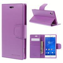 Sonata PU kožené puzdro pre mobil Sony Xperia Z3 - fialové