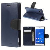Sonata PU kožené puzdro pre mobil Sony Xperia Z3 - tmavomodré