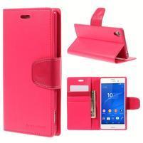 Sonata PU kožené pouzdro na mobil Sony Xperia Z3 - rose