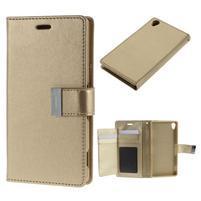 Luxury PU kožené puzdro pre mobil Sony Xperia Z3 - champagne