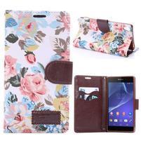 kvetinové puzdro pre mobil Sony Xperia Z3 - biele