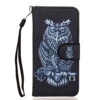 Leat peňaženkové puzdro pre Samsung Galaxy A3 (2016) - tribal sova