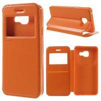 PU kožené pouzdro s okýnkem na Samsung Galaxy A3 (2016) - oranžové