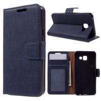 Cloth peňaženkové puzdro pre mobil Samsung Galaxy A3 (2016) - tmavomodré