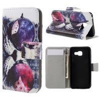 Standy peňaženkové puzdro pre Samsung Galaxy A3 (2016) - cool mačka