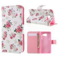 Standy peňaženkové puzdro pre Samsung Galaxy A3 (2016) - kvety