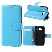 Peňaženkové puzdro pre mobil Samsung Galaxy J3  (2016) - svetlomodré