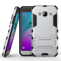 Outdoor odolný obal pre Samsung Galaxy J3 (2016)- strieborné