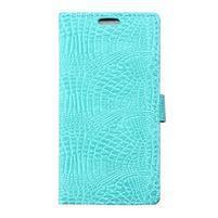 Croco peňaženkové puzdro pre Samsung Galaxy Trend 2 Lite - cyan
