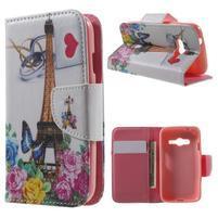 Motive pouzdro na mobil Samsung Galaxy Trend 2 Lite - Eiffelka a květiny