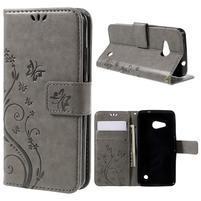 Butterfly koženkové puzdro na Microsoft Lumia 550 - šedé