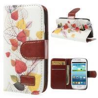 Pěněženkové kožené puzdro na Samsuing Galaxy S3 mini - listí
