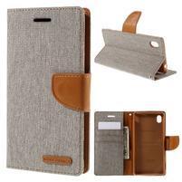 Canvas textilní/koženkové pouzdro na Sony Xperia M4 Aqua - šedé