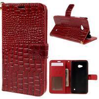 Croco peňaženkové puzdro s krokodílím motívom na Microsoft Lumia 640 - červené