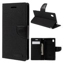 Canvas textilné/koženkové puzdro pre Sony Xperia M4 Aqua - čierne