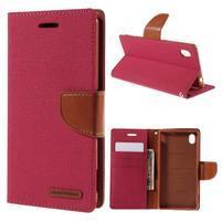Canvas textilní/koženkové pouzdro na Sony Xperia M4 Aqua - červené