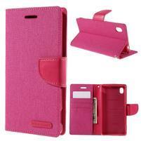Canvas textilní/koženkové pouzdro na Sony Xperia M4 Aqua - rose