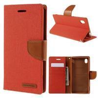 Canvas textilné/koženkové puzdro pre Sony Xperia M4 Aqua - oranžové
