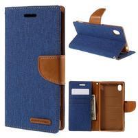 Canvas textilné/koženkové puzdro pre Sony Xperia M4 Aqua - modré