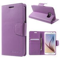 Diary PU kožené puzdro na mobil Samsung Galaxy S6 -fialové